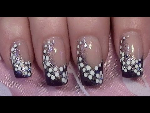 simple purple flower nail art design for long nails