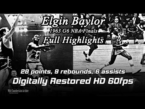 Elgin Baylor (Digitally Restored 60fps). 1963 NBA Finals G6 Full Highlights (28pts, 9reb, 6a)