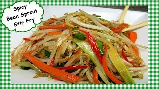 SPICY Bean Sprout Chinese Stir Fry ~ Healthy Vegetarian Vegetable Recipe