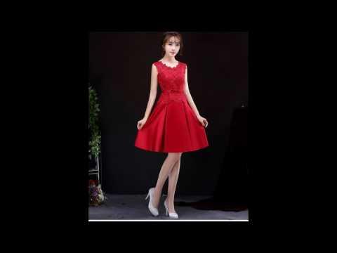 ชุดไปงานแต่งงาน ชุดออกงาน ชุดเดรสสวยหรูสีแดง ผ้าลูกไม้+ผ้าไหมอิตาลี จากร้าน Sompanshop