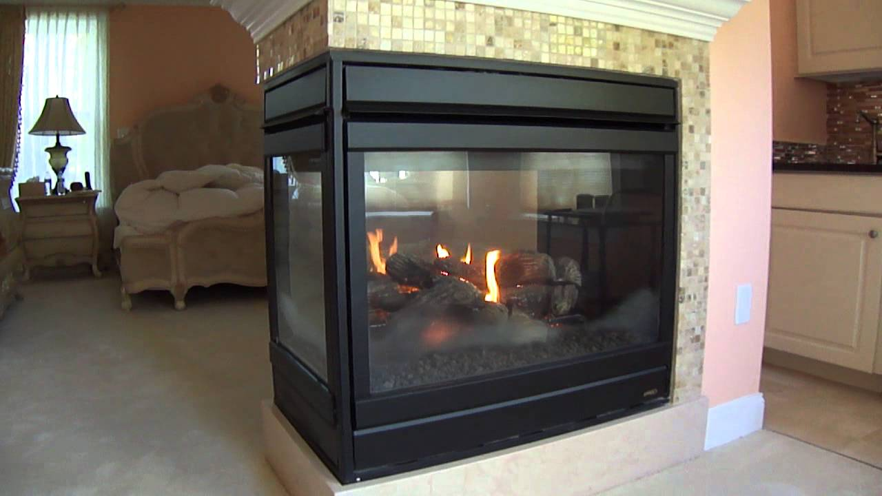 Lennox Hearth products three sided fireplace model EDVPF - YouTube