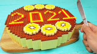 Lego Chocolate Cake - Lego In Real Life | Stop Motion Cooking | Happy New Year