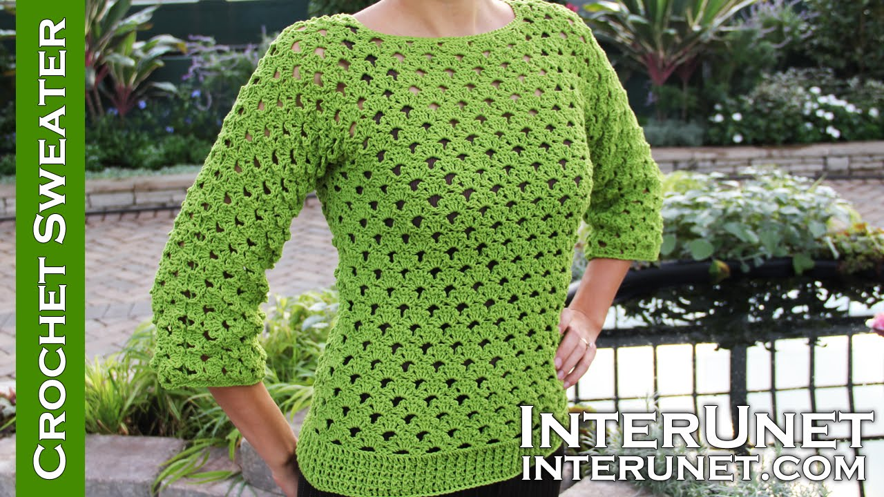 Lace sweater crochet pattern - YouTube