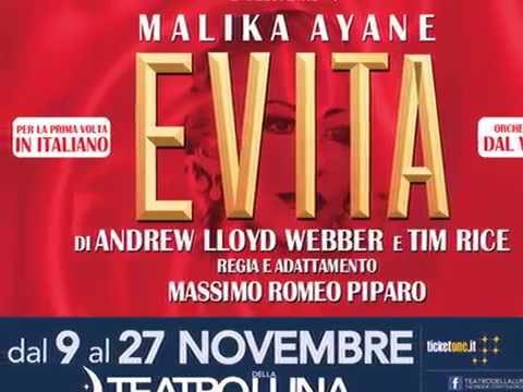 Evita con MALIKA AYANE a Teatro 2016/2017  @ilsistina @teatrodellaluna
