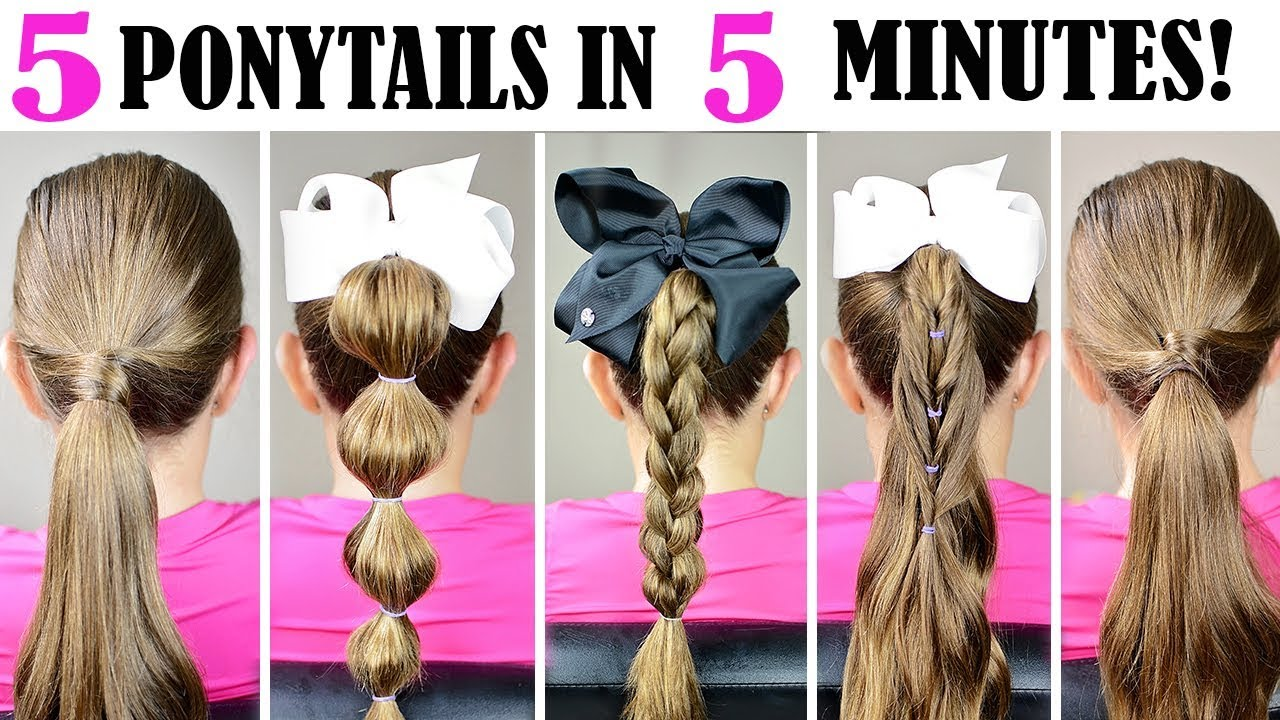 5 ponytails in 5 minutes - quick and easy ponytail hairstyles for school