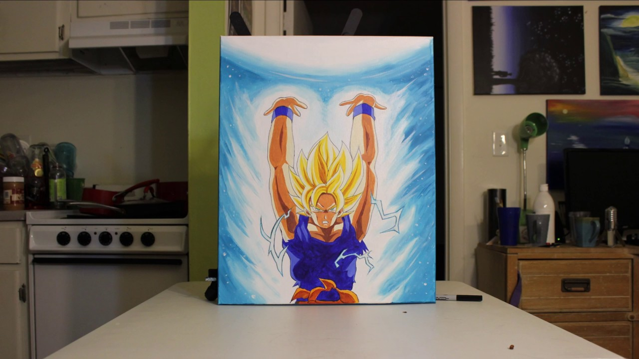 Goku spirit bomb glow in the dark painting