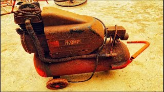Restoration air compressor rusty old  - Piston Hand border broken restore
