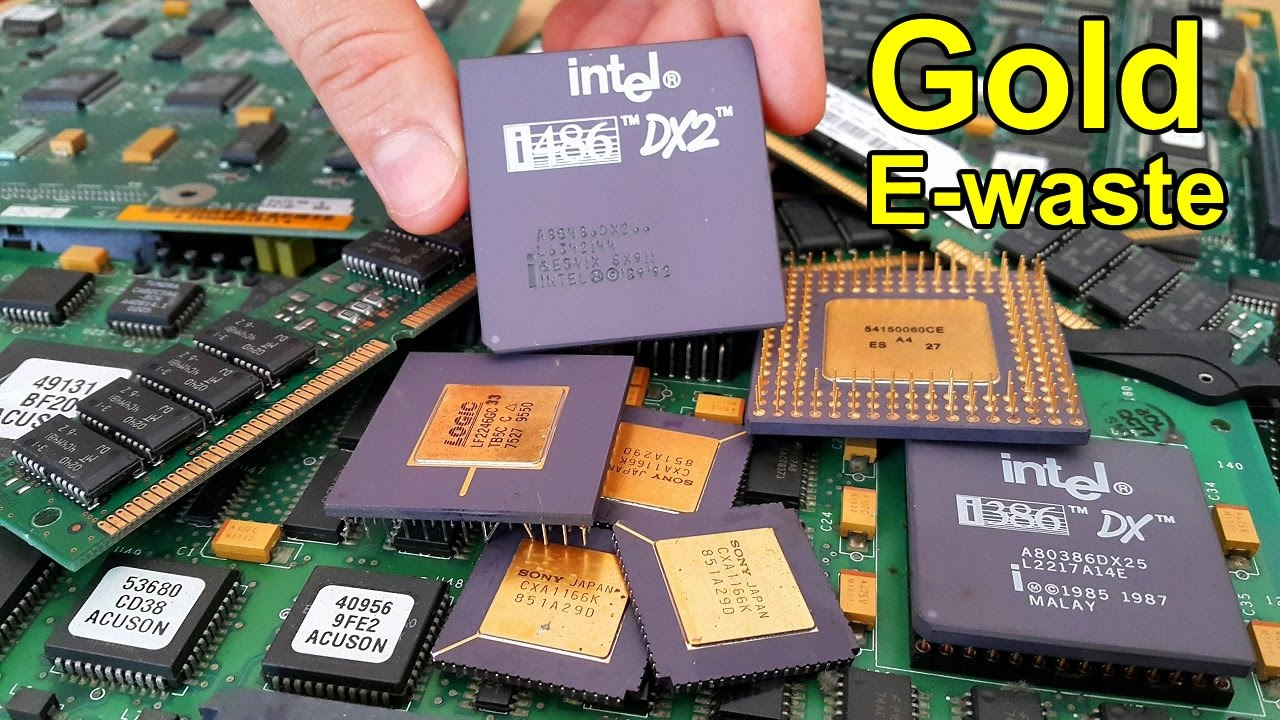 How To Recover Gold From E Waste Recycling Electronic Printed Circuit Board Equipment Scraps Computer Chips And Circuits Youtube