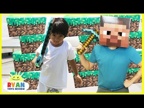 Thumbnail: MINECRAFT Roblox and Slither.io In Real Life! Family Fun Pretend Play Surprise Toys Hunt