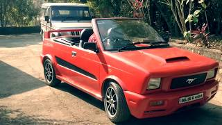 Modified Maruti Car 800 convertible Test Drive without hood (inside camera)