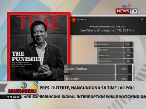 BT: Pres. Duterte, nangunguna sa Time 100 pol