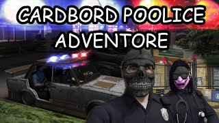 Rob & Fingle Dan ride along with cardboard police Bjorn and Yeager