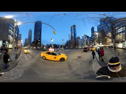 Columbus Circle New York City NYC Walk Around 4K 360 video – 2019,  Insta 360 One X –  Real Sounds