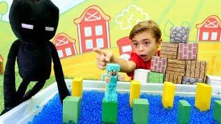 Minecraft oyunları. Büyük derleme. Enderman ve Steve oyuncakları