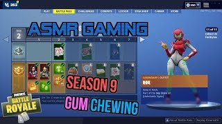 ASMR Gaming | Fortnite Season 9 Battle Pass Thoughts and Impressions 🎮Gum Chewing Whispering😴💤