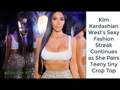 Kim Kardashian West's Sexy Fashion Streak Continues as She Pairs Teeny tiny Crop Top