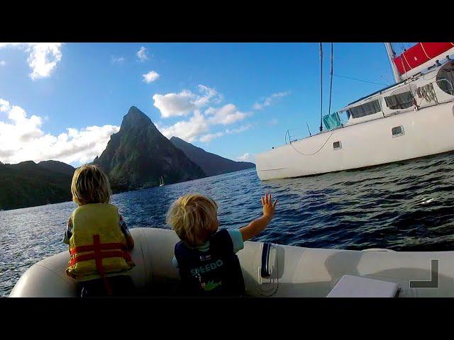 Sailing kids go to preschool in Saint Lucia