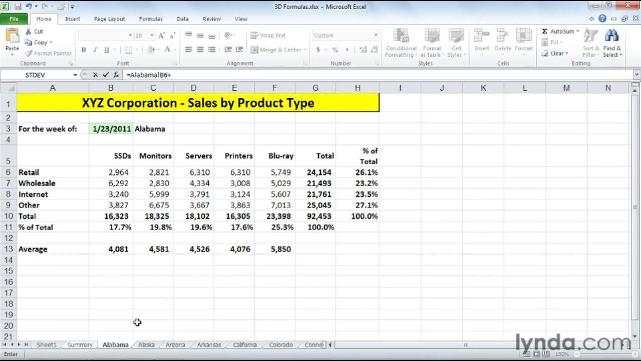 How to use 3D formulas in Excel | lynda.com tutorial - YouTube