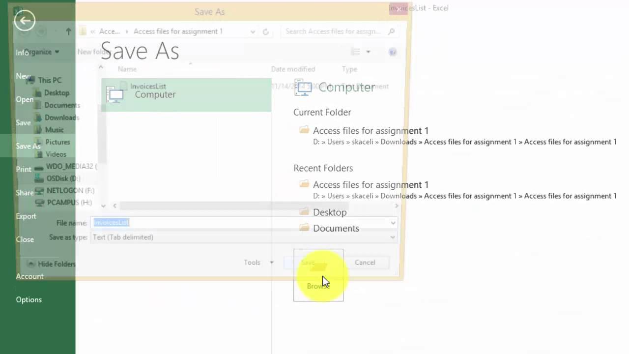 Importing and Exporting Data in  csv Files in Excel 2013 (Office 365) 17 of  18