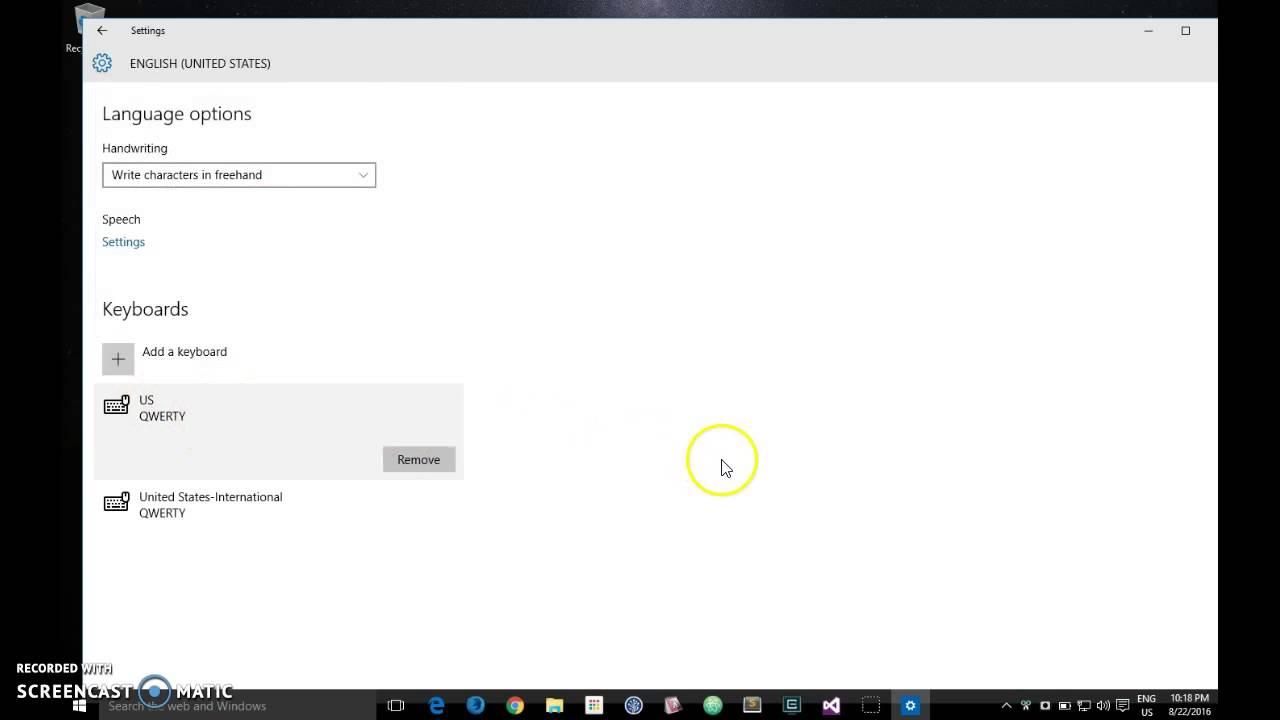 International Keyboard Config - Windows 10