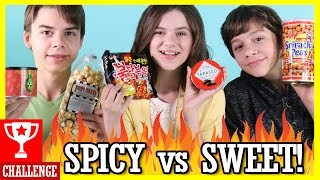SPICY VS SWEET FOOD CHALLENGE! EXTREME SPICY FOODS! POPCORN, JERKY, GHOST PEPPER! | KITTIESMAMA