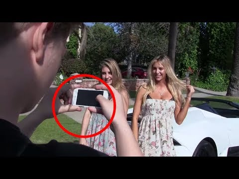 Lamborghini Blowing Girls Clothes Off Prank!!
