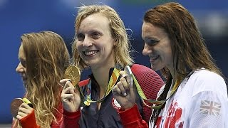 Katie Ledecky wins 800-metres freestyle, completes rare Olympic swimming treble
