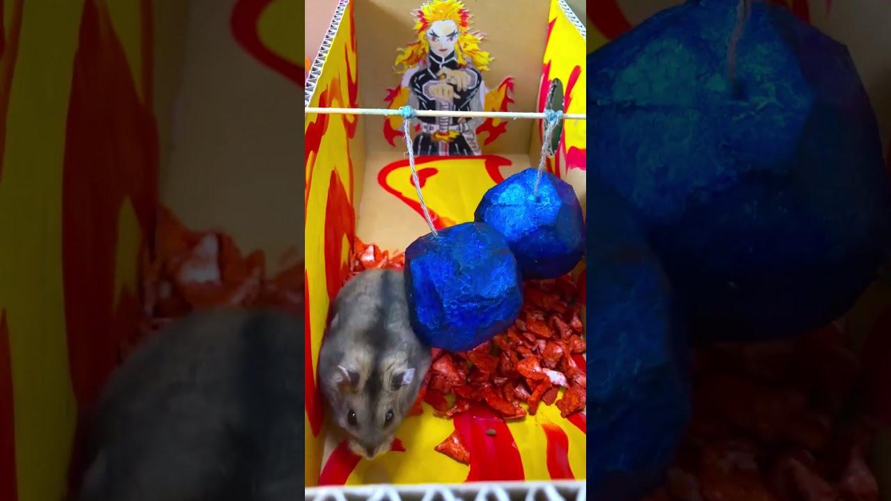 Hamsters run around the stage of Kimetsu no Yaiba (Demon slayer)鬼滅の前歯 (ハムスター)
