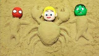 Sand beach castles & games 💕Superhero Play Doh Stop motion cartoon