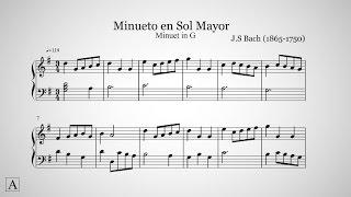 J.S Bach - Minueto en Sol Mayor (G) | Partitura