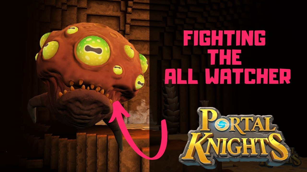 Portal Knights: Fighting the All Watcher Together (Boss Fight)! Split-screen Gameplay