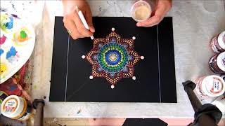 Színek kavalkádja mandala--  DOT ART--Colorful mandala with dot painting