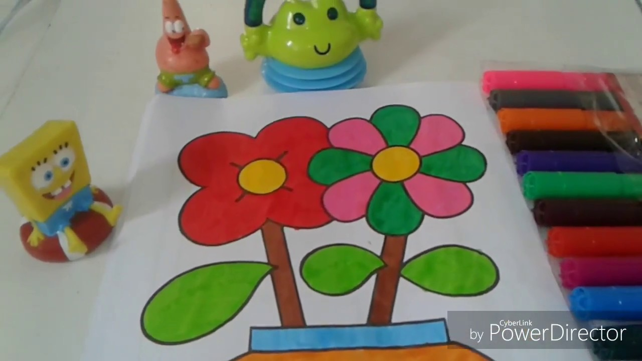 KIDS COLORING PAGE OF FLOWER VASE VIDEO FOR KIDS - YouTube