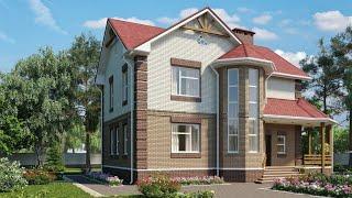 Проект дома в современном стиле из кирпича. Дом с эркером и террасой.  Ремстройсервис KR-163
