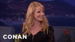 melissa rauch taught her parents about the taint conan on tbs