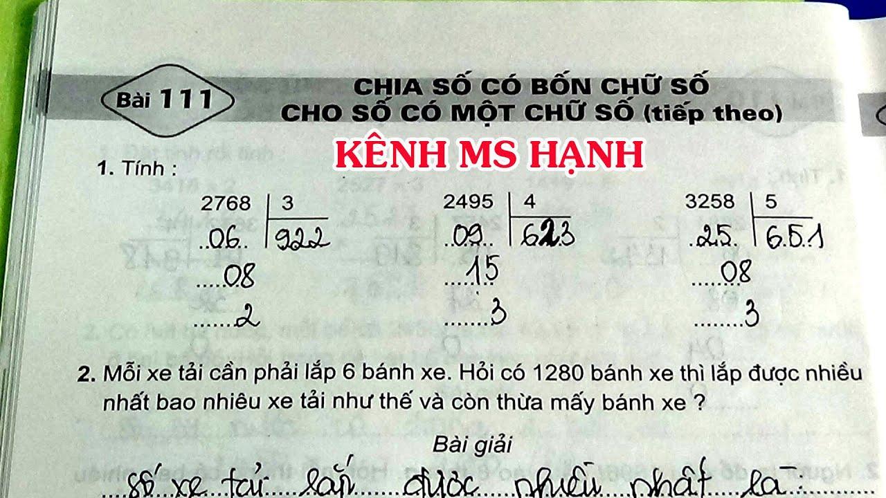 Vở Bài Tập Toán Lớp 3 Bài 111 Trang 30 Chia Số Có Bốn Chữ Số Cho Số Có Một Chữ Số  (Tiếp Theo)