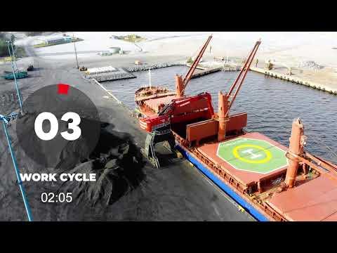 Mantsinen 300R Hybrilift Loading Coal at Port of Koverhar in Finland