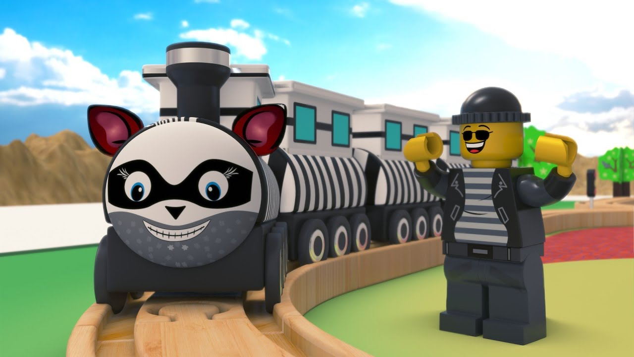 lego  thief train fail - lego city cartoon - choo choo train kids videos