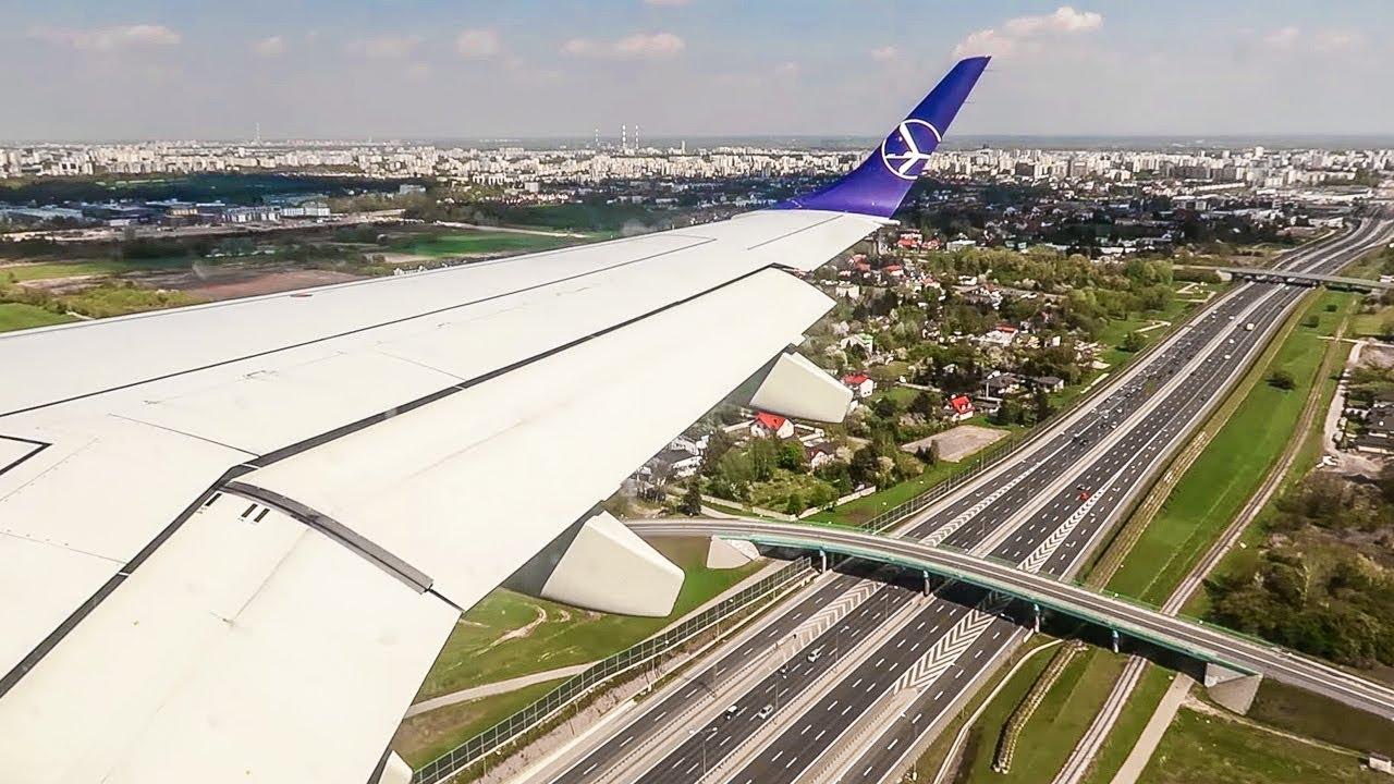 Aeroporto Waw : Lot polish airlines embraer erj 195 windy landing at warsaw chopin