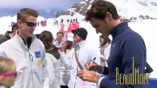 費德勒Roger Federer與琳賽沃恩Lindsey Vonn搞笑演出 超歡樂網球表演賽 20140716 Lindt瑞士蓮全球最高巧克力專賣店開幕