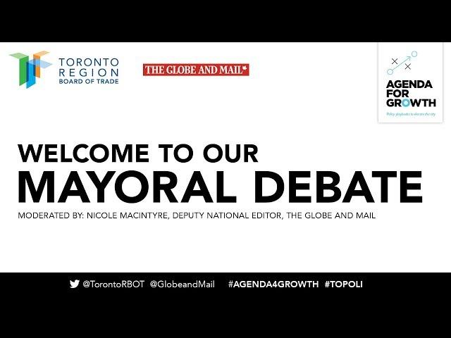 The Toronto Region Board of Trade and The Globe and Mail host a debate featuring Sarah Climenhaga, Saron Gebresellassi, Jennifer Keesmaat and Mayor John Tory, moderated By Nicole MacIntyre, The Globe's Deputy National Editor.