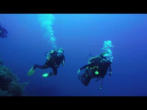 5 Scuba divers at St. George Island, Cyprus