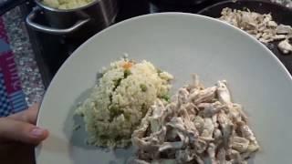 курица со сметаной, а на гарнир кус-кус с овощами