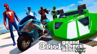 Desafio com MOTOS e Hot Wheels na Rampa com Homem Aranha e Heróis! - GTA V - GetMods Games