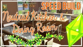 The Sims 4 | Room Build // Neutral Kitchen & Dining Room