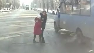 Very Lucky Pedestrians - Mom and Daughter