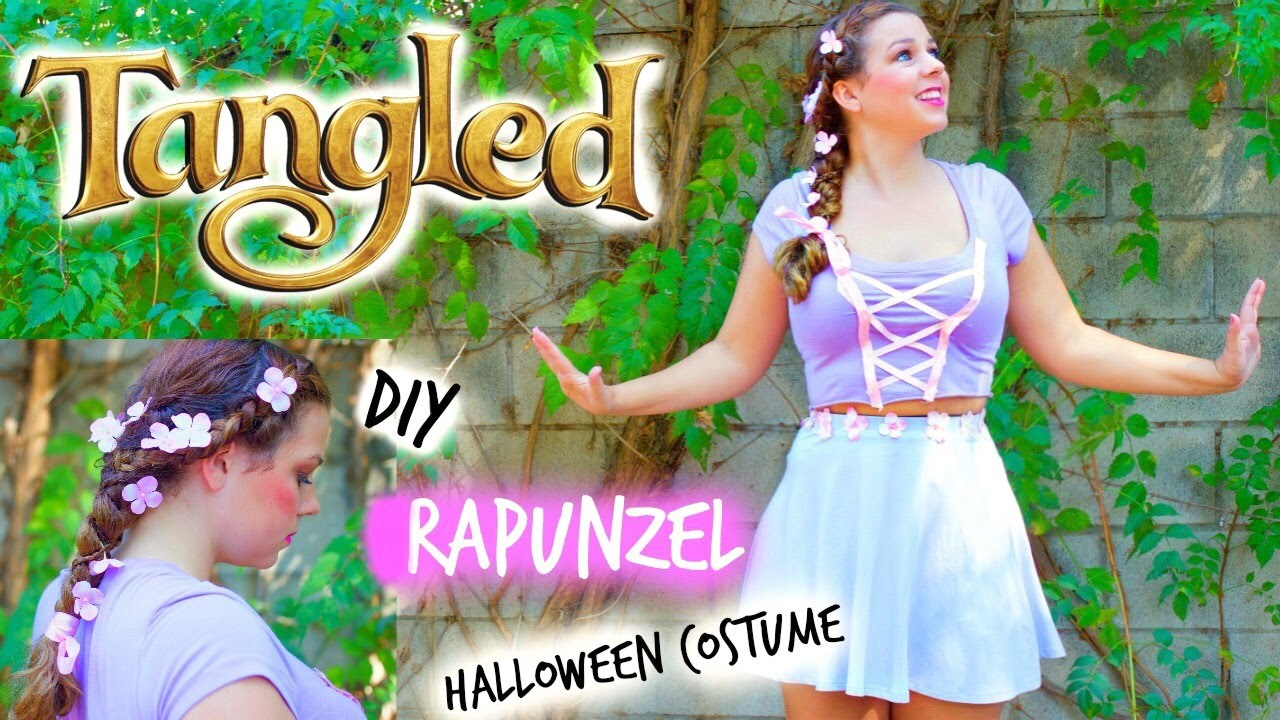 Diy Rapunzel Tangled Halloween Costume For Teen Girls Hair Makeup Tutorial Youtube