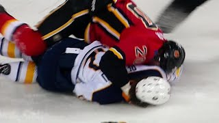 Sabres' Beaulieu exits game after falling to the ice during fight with Flames' Lazar