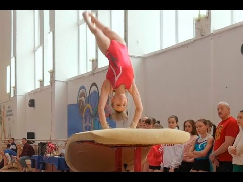 girl gymnasts performance gymnastics Vault at competitions in Russia