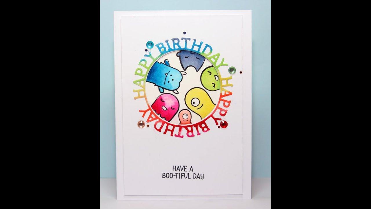 Lawn Fawn Monster Mash Rainbow Birthday Card